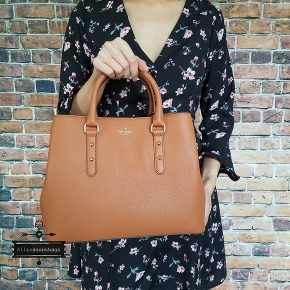 New Authentic Kate Spade Evangelie Larchmont Avenue Satchel Handbag Purse Brown